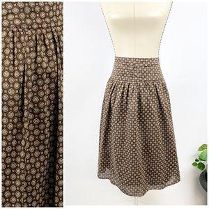 Banana Republic Ruffled Skirt Brown Cream Print